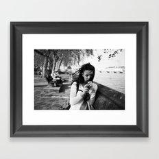 windswept girl by the thames Framed Art Print