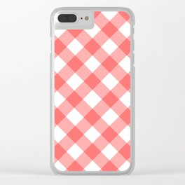 Red gingham fabric cloth Clear iPhone Case