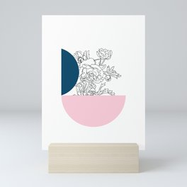 VESSEL - Floral Ink in Peacock & Pink - Cooper and Colleen Mini Art Print