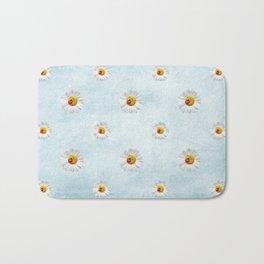 Daisies in love- blue pattern Bath Mat