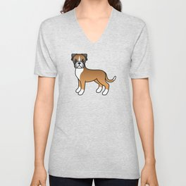 Cute Fawn Boxer Dog Cartoon Illustration Unisex V-Neck