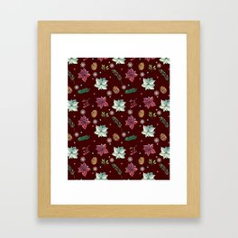 Colorful Christmas Red White Poinsettia Pine Cones Snowflakes Framed Art Print
