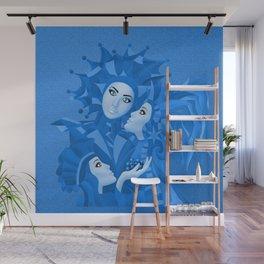 Share Secrets in Blue Wall Mural