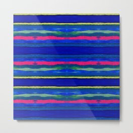 Cerulean Stripes Metal Print