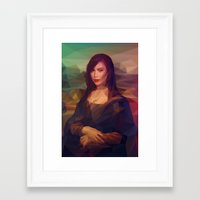 kim kardashian Framed Art Prints featuring La Gioconda / Kim Kardashian / Mona Lisa by Breno Bitencourt