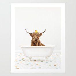 Highland Cow with Rubber Ducky in Vintage Bathtub Art Print