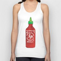 sriracha Tank Tops featuring HOT SAUCE by RUMOKO x Vintage Cheddar