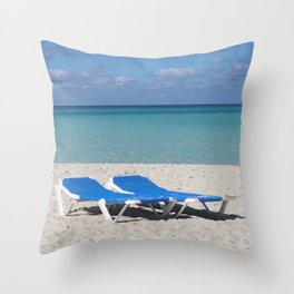 Deck Chairs on Beach Throw Pillow