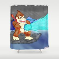 donkey kong Shower Curtains featuring Donkey Kong Super Kamehameha by Juiceboxkiller