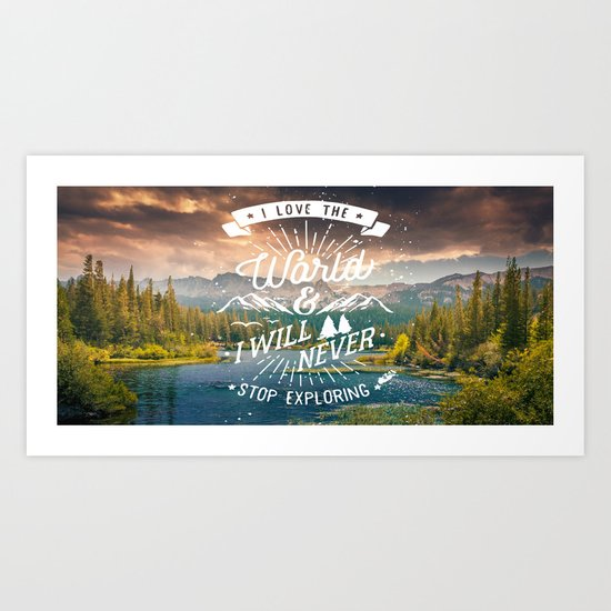 Inspirational Quote and Mountains III Art Print