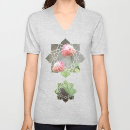 Asiatic Flowers in Pale Pink Unisex V-Neck