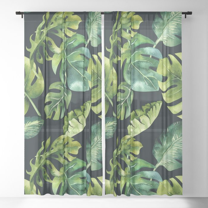 Watercolor Botanical Tropical Palm Leaves on Solid Black Background Sheer Curtain