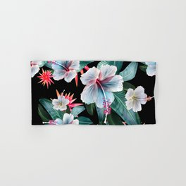Tropical banana leaf, hibiscus vintage style, Hawaiian decor, retro Hand & Bath Towel