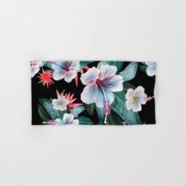 Tropical banana leaf, hibiscus vintage style, Hawaiian decor, retro Hand & Bath Towel