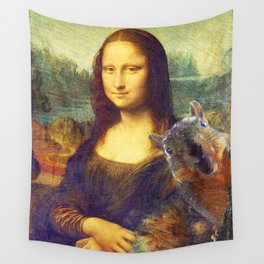 Mona Lisa Squirrel Photo Bomb Pop Art Wall Tapestry
