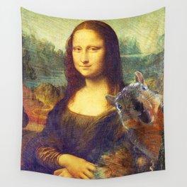 Mona Lisa Squirrel Photo Bomb Pop Art Wall Tapestry