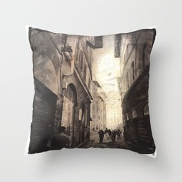 Duomo rising above city streets in Florence, Italy.  Florence fine art painting  Throw Pillow