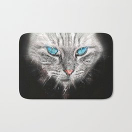 Silver Abstract Cat Face with blue Eyes Bath Mat