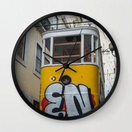 Tram Lisbon yellow Wall Clock