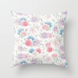 Blush pink teal watercolor hand painted cactus flowers Throw Pillow