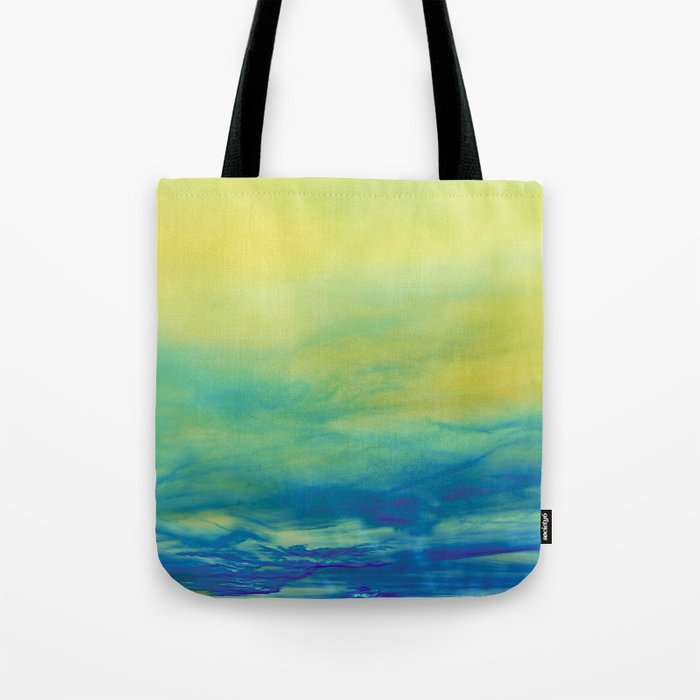 YELLOW & BLUE TOUCHING #1 #abstract #art #society6 Tote Bag