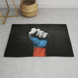 Russian Flag on a Raised Clenched Fist Rug