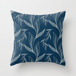 Indigo Foliage Throw Pillow