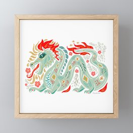 Fiery Dragon - Green, red, gold Framed Mini Art Print