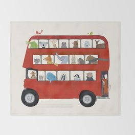 the big little red bus Throw Blanket