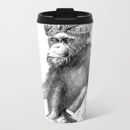 MONKEY-Drawing Metal Travel Mug