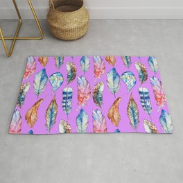 Hand painted pink blue violet bohemian feathers pattern Rug