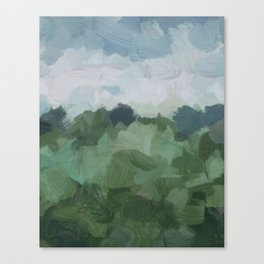 Sky Blue and Sage Green Abstract Painting, Modern Wall Art Print, Rural Country Farm Rustic Canvas Print