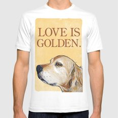 Love is Golden MEDIUM White Mens Fitted Tee