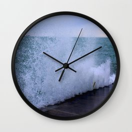 Lake Michigan Natural Fountains #1 (Chicago Waves Collection) Wall Clock