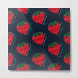 Fruit Fête - Strawberries (Navy)   Pattern Metal Print