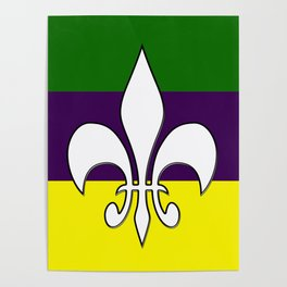 Mardi Gras Flag Poster
