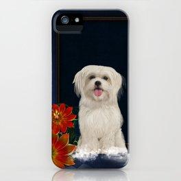 e709ba65c0ef Cute little havanese puppy with flowers iPhone Case