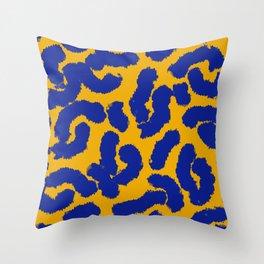 Orange and blue animal print pattern  Throw Pillow