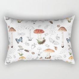 Woodland Mushroom Print Rectangular Pillow