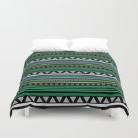 green pattern Duvet Covers featuring Green Pattern by Corina Rivera Designs