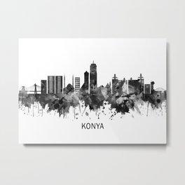 Konya Turkey Skyline BW Metal Print