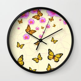YELLOW-ORANGE MONARCH BUTTERFLIES PINK ROSES  MONTAGE Wall Clock