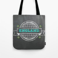 england Tote Bags featuring England by My Little Thought Bubbles