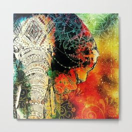 Asian Mandala Elephant Blue Orange Yellow Green Metal Print