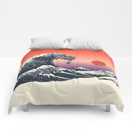The Great Wave of Black Pug Comforters