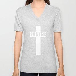 Easter Cross - Simple Easter Sunday Christian Gift Unisex V-Neck