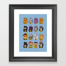 Fortune Cats Framed Art Print