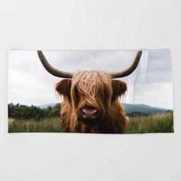 Scottish Highland Cattle in Scotland Portrait II Beach Towel