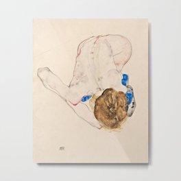 Egon Schiele - Nude with Blue Stockings, Bending Forward Metal Print