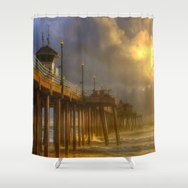 Huntington Beach Pier After The Storm Shower Curtain